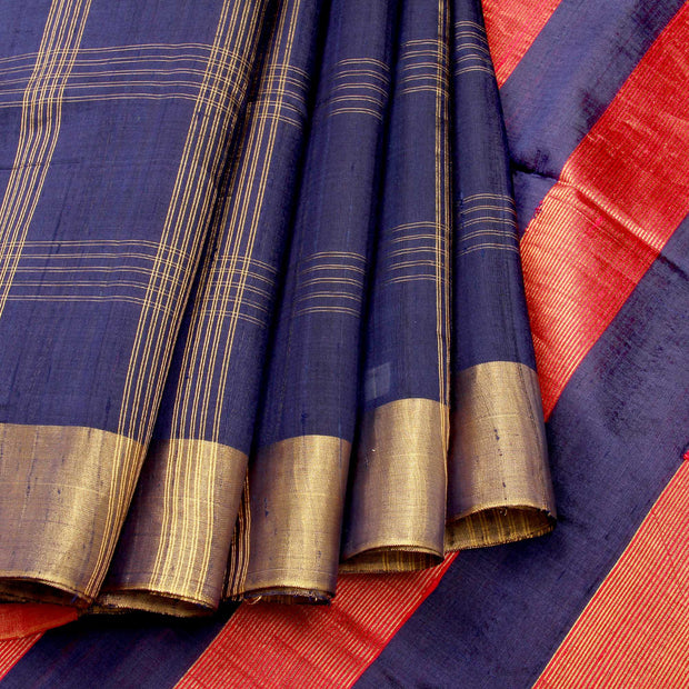 Kuberan Blue Pure Soft Silk Saree
