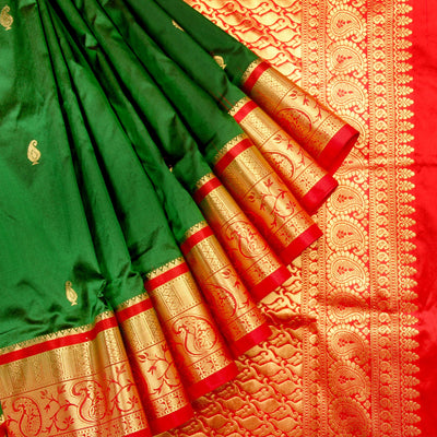 Kuberan Dark Green Red 9 Yards Silk Saree