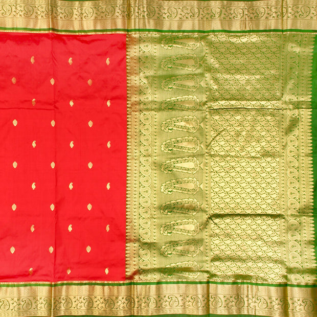 Kuberan Red Pink Green 9 Yards Silk Saree