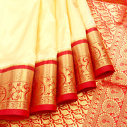 Kuberan White 9 Yards Silk Saree