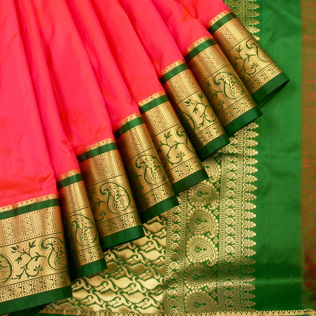 Kuberan Peach Green 9 Yards Silk Saree