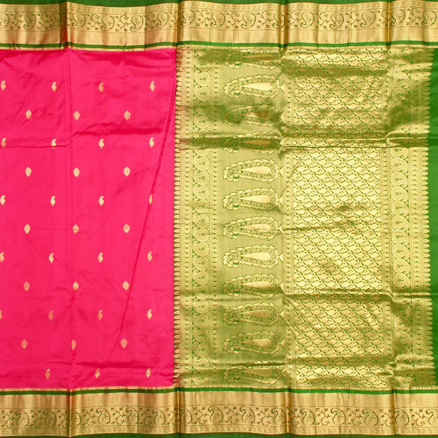 Kuberan Pink Green 9 Yards Silk Saree