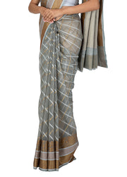 Kuberan Grey Kora Cotton Saree
