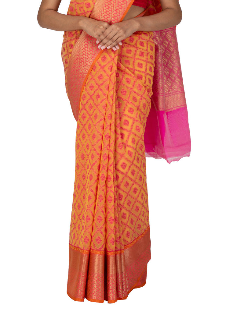 Kuberan Pink Kora Cotton Saree
