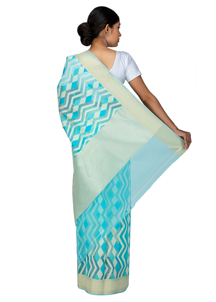 Kuberan Blue Kora Cotton Saree