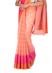Kuberan Peach Kora Cotton Saree