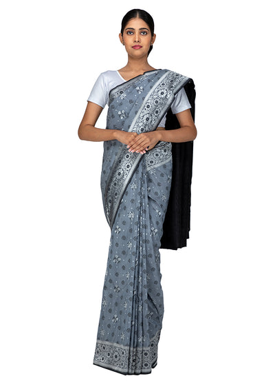 Kuberan Dark Grey Kora Cotton Saree