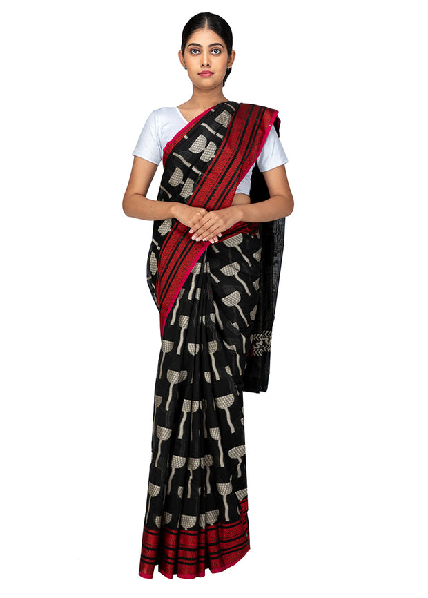 Kuberan Black Kora Cotton Saree