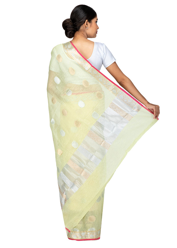 Kuberan Light Green Kora Cotton Saree