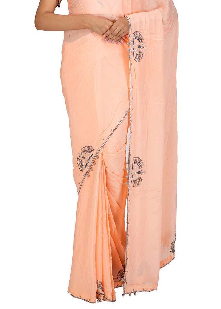 Kuberan Light Pink Chiffon Saree