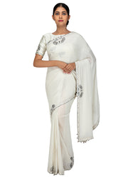 Kuberan Off White Chiffon Saree