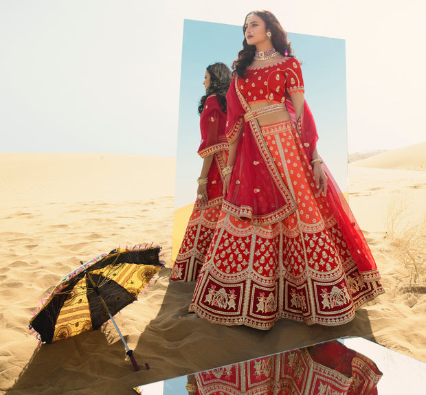 KUBERAN PEACH RED DESIGNER LEHENGA FOR BRIDE