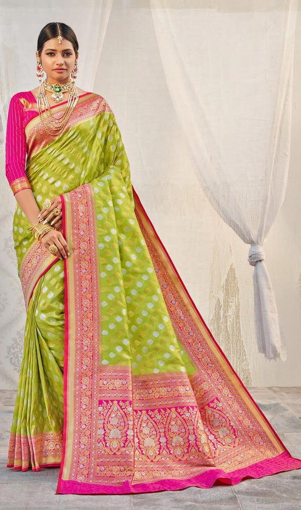 KUBERAN PISTA WITH PINK BORDER BANARASI SAREE
