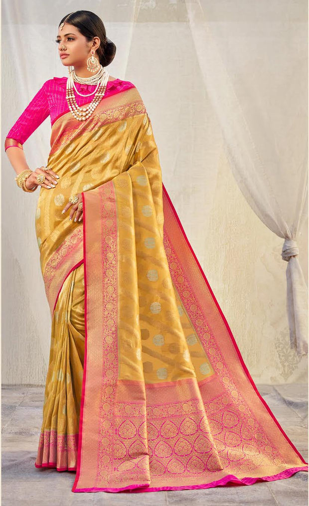 KUBERAN YELLOW WITH PINK BORDER BANARASI SAREE