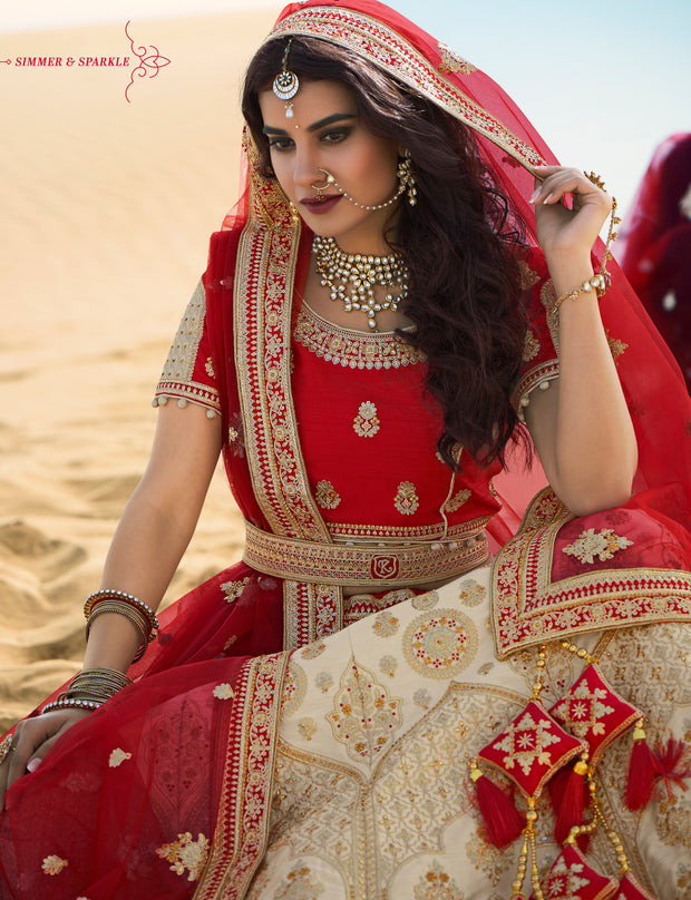 KUBERAN CREAM RED DESIGNER LEHENGA FOR BRIDE