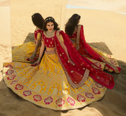 KUBERAN YELLOW RED PINK DESIGNER LEHENGA FOR BRIDE