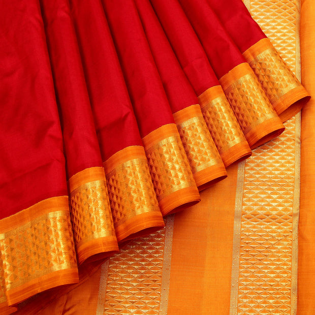Kuberan Red Gold 9 Yards Silk Saree