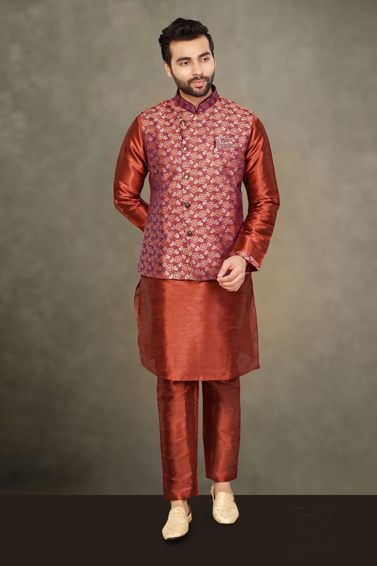 KUBERAN MARRON RAW SILKS KURTA