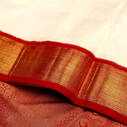 Kuberan Red White 9 Yards Silk Saree