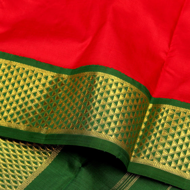 Kuberan Red Green 9 Yards Silk Saree