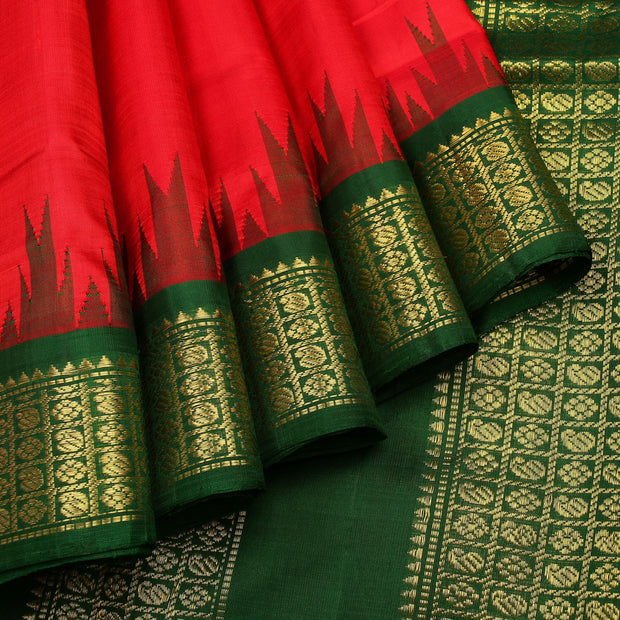 Kuberan Ruby Red Green 9 Yards Silk Saree