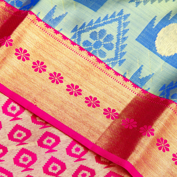 Kuberan Blue Pink Kanchivaram Silk Saree