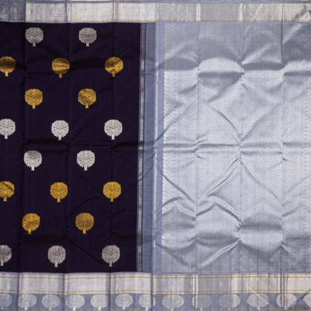 Kuberan Navy Blue Grey Kanchivaram Silk Saree