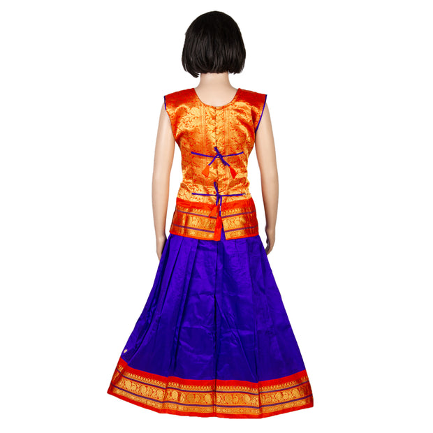 Kuberan Blue Orange Cotton Readymade Pavada