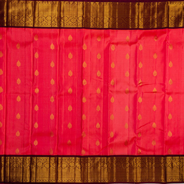 Kuberan Pink Brown Kanchipuram Silk Saree
