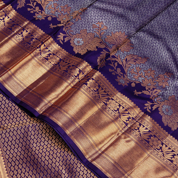Kuberan Grey Navy Blue Kanchipuram Silk Saree