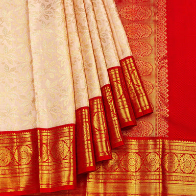 Kuberan Cream Red Kanchipuram Silk Saree