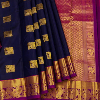 Kuberan Navy Blue Pure Silk Saree