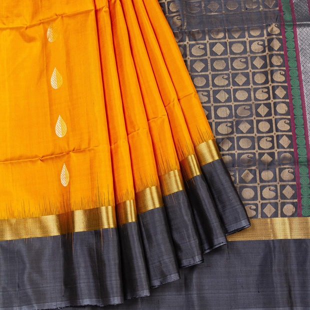 Kuberan Yellow Grey Pure Silk Saree