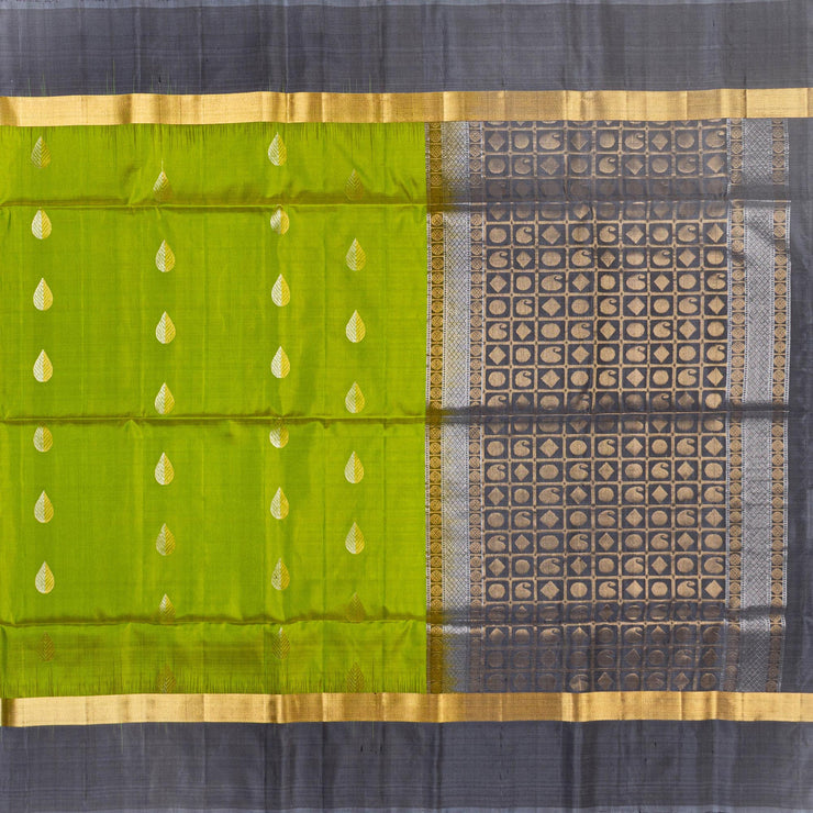 Kuberan Green Grey Pure Silk Saree