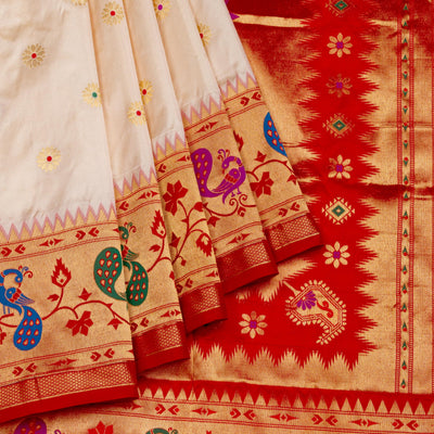 Kuberan Cream Red Paithani Silk Saree