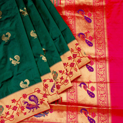 Kuberan Green Paithani Silk Saree
