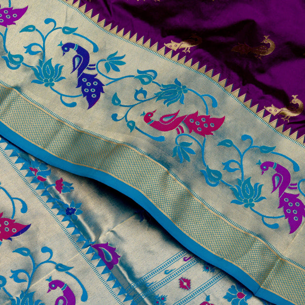 Kuberan Purple Blue Paithani Silk Saree