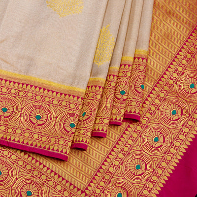 Kuberan silver Cream Red Tissue Paithani Semi Silk Saree