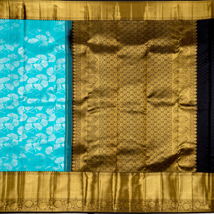 Kuberan Sky Blue Pure Kanchivaram Silk Saree