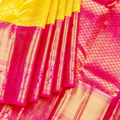 Kuberan Yellow Pink Pure Kanchivaram Silk Saree