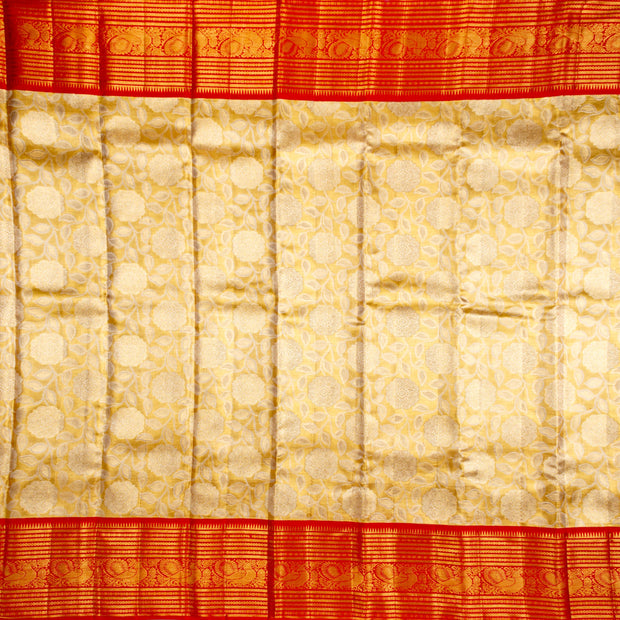 Kuberan Golden Red Pure Kanchivaram Silk Saree