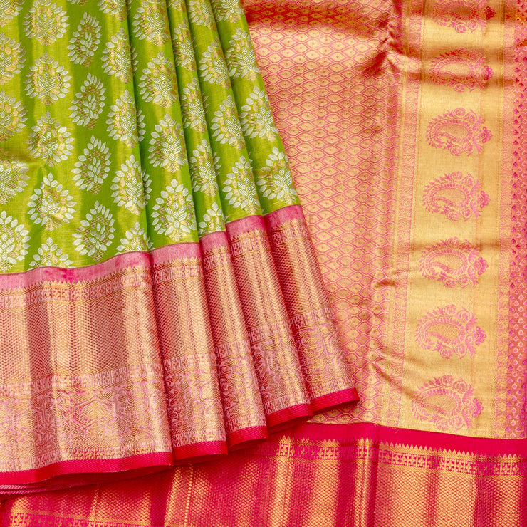 Kuberan Green Pink Pure Kanchivaram Silk Saree