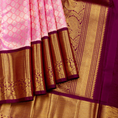 Kuberan Pink Pure Kanchivaram Silk Saree