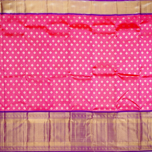 Kuberan Pink Blue Pure Kanchivaram Silk Saree