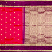 Kuberan Saffron Purple Pure Kanchivaram Silk Saree