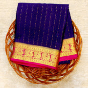 Kuberan Navy Blue Pink Mysore Silk Saree