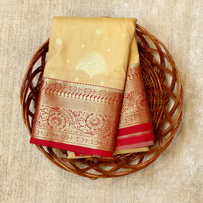 Kuberan Cream Red Semi Silk Saree