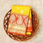 Kuberan Yellow Orange Semi Silk Saree