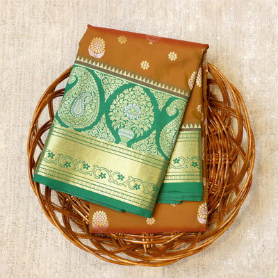 Kuberan Brownish Green Semi Silk Saree
