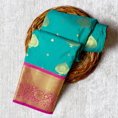 Kuberan Peacock Green Semi Silk Saree